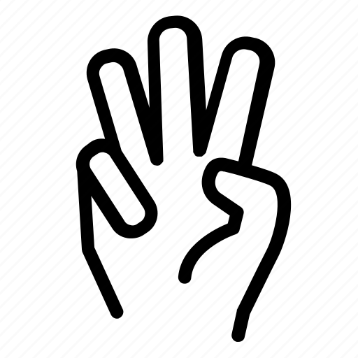communication, conversation, counting, fingers, hand, three fingers icon