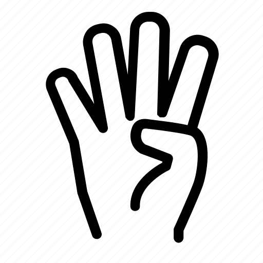 conversation, counting, digits, enumerate, finger, four fingers, hand icon