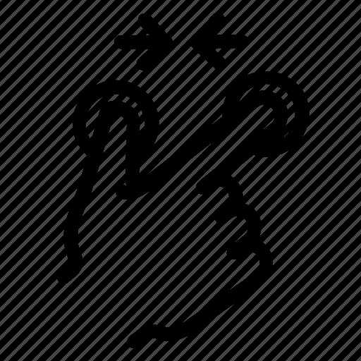 arrow, conversation, finger pinch, hand, pinch, screen, touch icon
