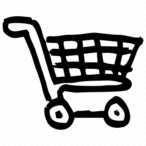 buying, draft, hand drawn, handdrawn, shopping, sketch, trolley icon