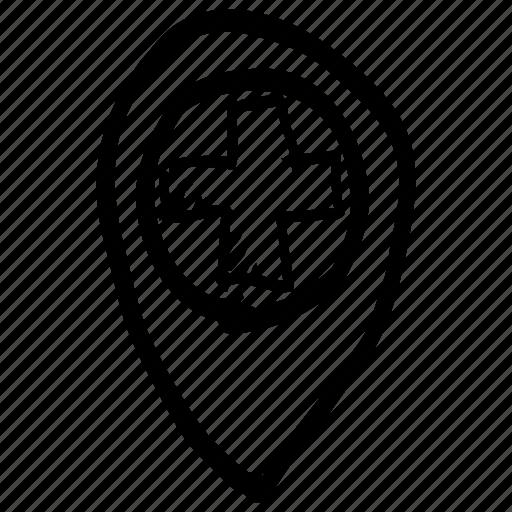 draft, hand drawn, handdrawn, location, map, position, sketch icon
