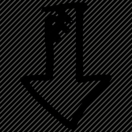 arrow, arrow down, draft, hand drawn, handdrawn, sketch, stylist icon
