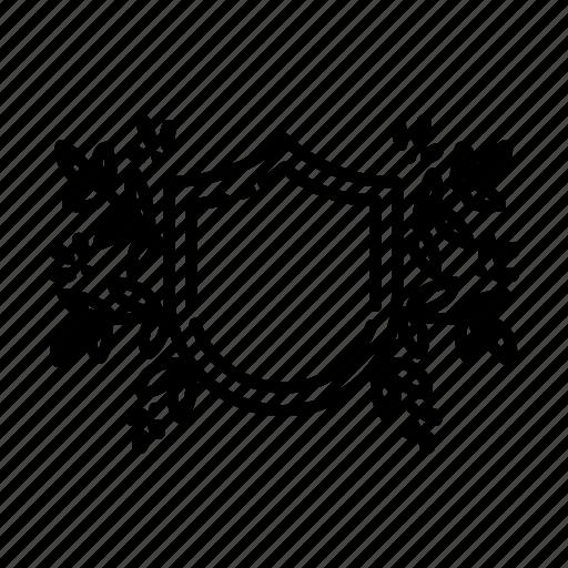 badge, doodles, flower, foliage, frame, leaves, shapes icon