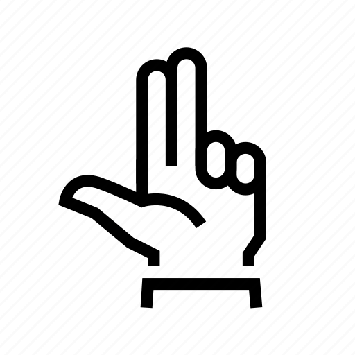 fingers, gesture, hand, three, two icon
