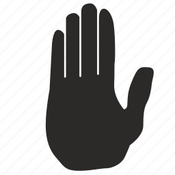 attention, dactylogram, gesture, hand, stop, wait icon