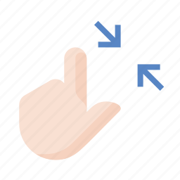 contract, finger, gestures, hand, touch icon
