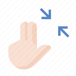 contract, fingers, gestures, hand, touch icon