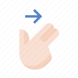 finger, gestures, hand, right, swipe, touch, two icon