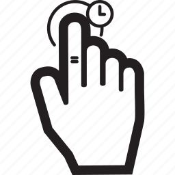 clock, gesture, hand, hold, tap icon
