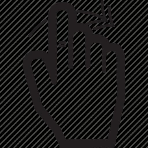 arrow, hand, move, right, swipe, touch icon