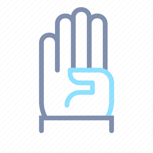 finger, four, gesture, hand, interaction, touch icon