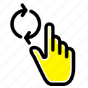 finger, gesture, hand, refresh icon