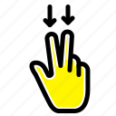 down, fingers, gesture icon