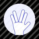 1, alien, gesture, gestures, hand, palm, salute, spock, star, trek, vulcan icon