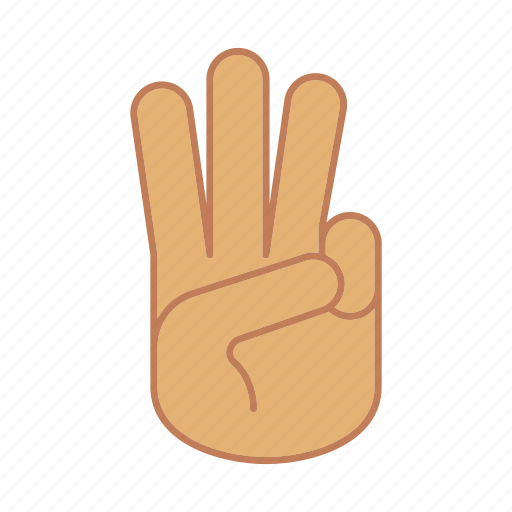 counting, fingers, gesticulate, gesticulation, hand, palm, three icon