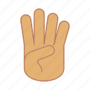 counting, fingers, four, gesticulate, gesticulation, hand, palm icon
