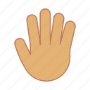 fingers, five, gesticulate, gesticulation, gesture, hand, palm icon
