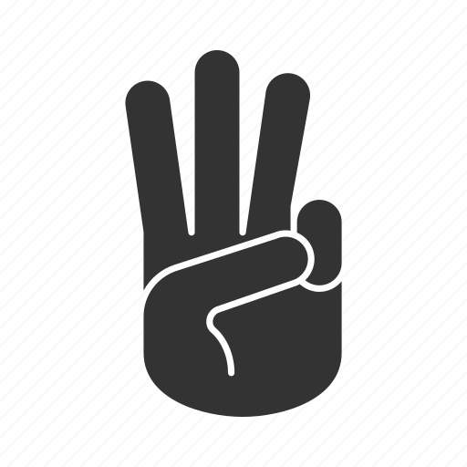counting, fingers, gesticulate, gesture, hand, palm, three icon
