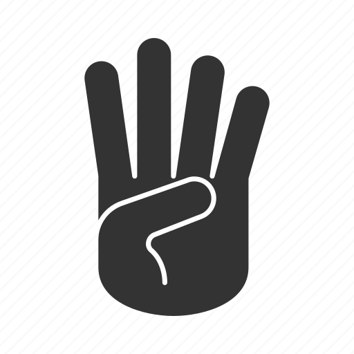 counting, fingers, four, gesticulation, gesture, hand, palm icon