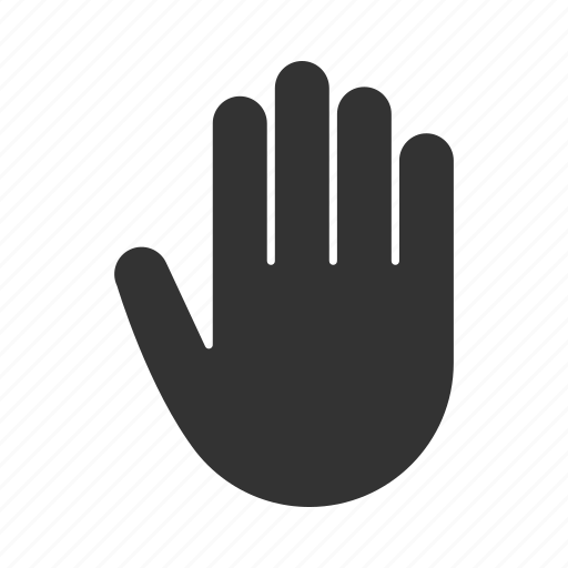 fingers, five, gesticulate, gesture, hand, palm, stop icon