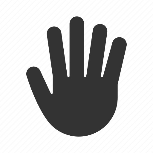 counting, fingers, five, gesticulate, gesture, hand, palm icon