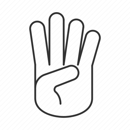 counting, fingers, four, gesticulate, gesture, hand, palm icon