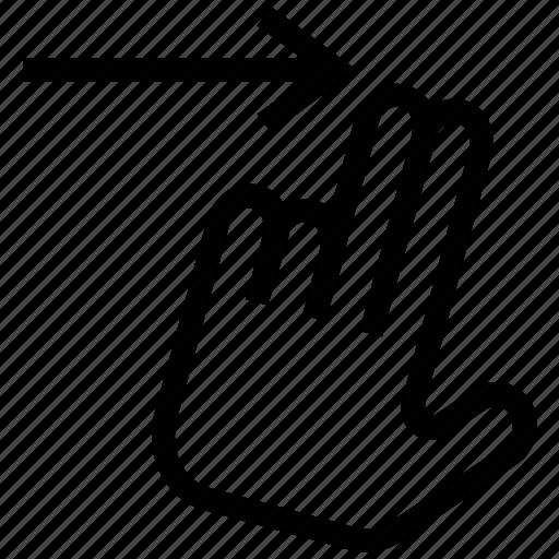 arrow, double, finger, right, swipe, swipe right icon