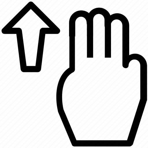 finger, finger swipe, hand, swipe, swipe up, three fingers, up icon