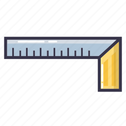 cm, inch, long, ruler, tool, try square icon
