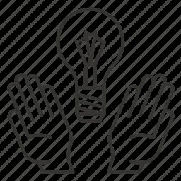 bulb, business, creative, hand, hands, idea, light icon