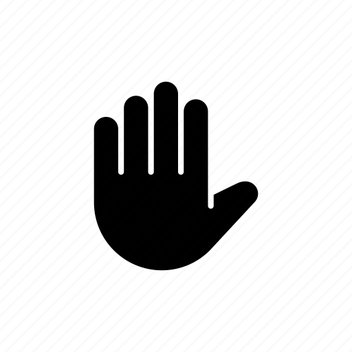 finger, fingers, five, gesture, hand, stop, wait icon