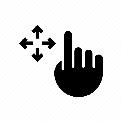 arrow, drag, drop, finger, hand, move, relocate icon
