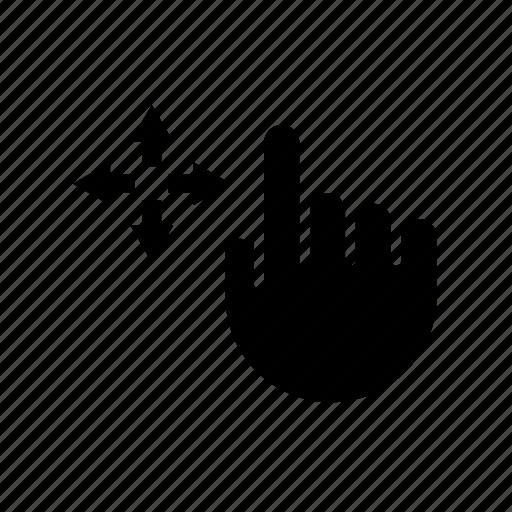 arrow, drag, drop, hand, move, pointer, relocate icon