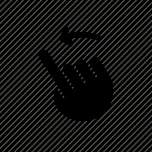 arrow, down, gesture, hand, left, move, swipe icon