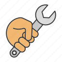 mechanic, spanner, hand, repair, construction, tool, wrench