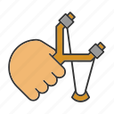 catapult, hand, hold, shot, sling, slingshot, toy icon