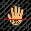 biometric, fingerprint, hand, handprint, palm, recognition, scan icon