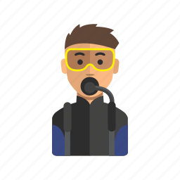 avatar, diving, male, man, ocean, user icon