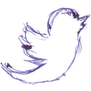 birdie, handwritten, pen written, tweet, twitter icon