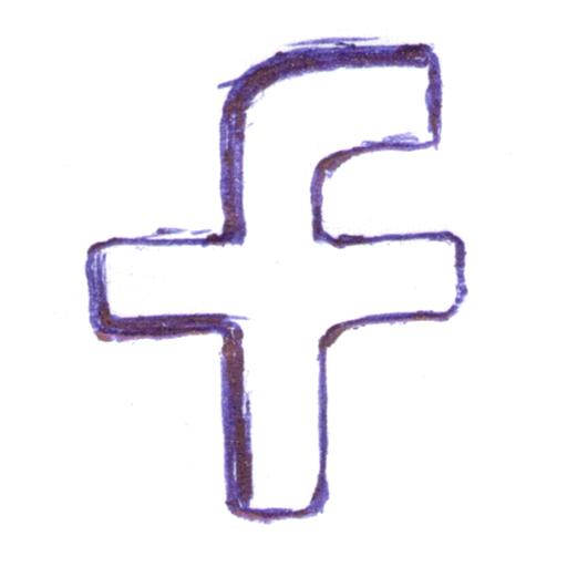 f, facebook, handwritten, pen written, social network icon