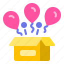 balloons, birthday, box, open, surprise icon