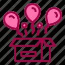 balloons, birthday, box, open, surprise icon