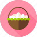 basket, easter, egg, food, hen egg, holiday, seasonal icon