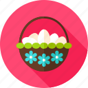 basket, easter, egg, flower, holiday, seasonal, spring icon