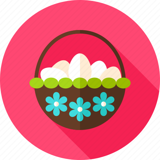 basket, easter, egg, flower, holiday, seasonal, spring icon