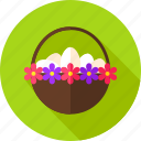 basket, easter, egg, flower, food, hen egg, holiday icon