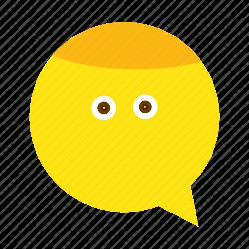 emoji, face, happy, less, speech icon
