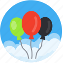 balloon, balloons, birthday, celebration, decoration, event, festival, graduation, helium, occasion, promo, vacation icon