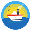 boat, cruise, launch, ocean, release, sea, ship, travel, vacation icon