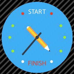 clock, deadline, downtime, duration, estimation, implement, progress, project, punctual, schedule, set up, setup, ship date, timetable, workflow, worktime icon